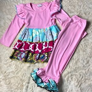 Other - NWT Pink Triple Ruffle Patchwork Set